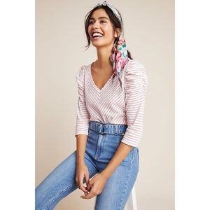Anthropologie Maeve Lauryn Striped Puff Sleeve Top